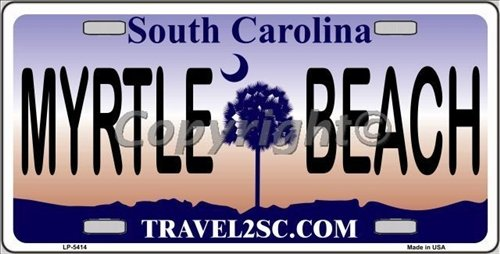Myrtle Beach South Carolina State Background Metal License Plate Tag Sign (License Plates State Background)