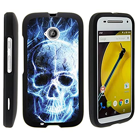 Motorola Moto E (2nd Generation) 1527 Phone Case, Full Body Perfect Fit Snap on Hard Cell Phone Cover Intense Skull Design Collection by Miniturtle® - Blue Flame (Snap On Cell Phone Cases)