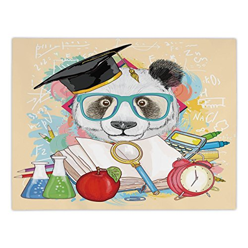 Polyester Rectangular Tablecloth,Animal,Panda Goes to School Humor Education Hipster with Glasses Books Pen Graphic Art,Multicolor,Dining Room Kitchen Picnic Table Cloth Cover,for Outdoor Indoor (Pen Beaded Daisy)
