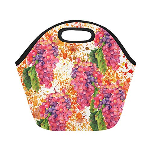 (Insulated Neoprene Lunch Bag Vineyard Ripe Grapes Natural Country Landscape Wine Green Brown Blue Large Size Reusable Thermal Thick Lunch Tote Bags For Lunch Boxes For Outdoors,work, Office, School)