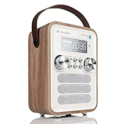 InstaBox i10 Wooden Clock Radio with Handle, Portable Retro Bluetooth Speaker, Digital FM Radio Multi-Functional MP3 Player, Supports Micro SD/TF Card and USB with Remote Control