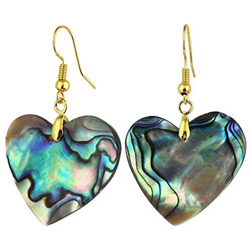 Abalone Heart Earrings - SUNYIK Natural Abalone Shell Dangle Earrings for Women, Heart Shaped, Gold Plated
