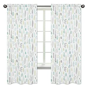 Sweet Jojo Designs Blue and Grey Tropical Leaf Window Treatment Panels Curtains – Set of 2 – Turquoise, Gray and Green Botanical Rainforest Jungle Sloth Collection