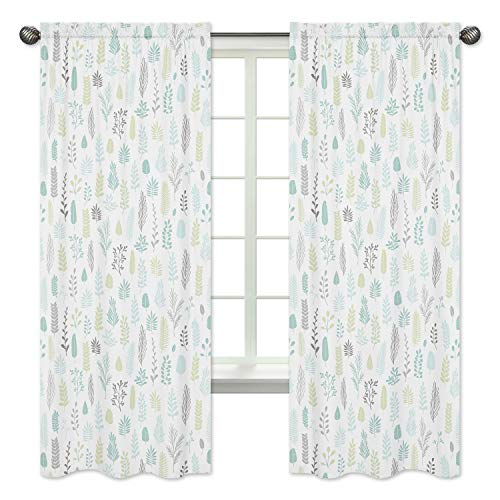 Sweet Jojo Designs Blue and Grey Tropical Leaf Window Treatment Panels Curtains - Set of 2 - Turquoise, Gray and Green Botanical Rainforest Jungle Sloth Collection