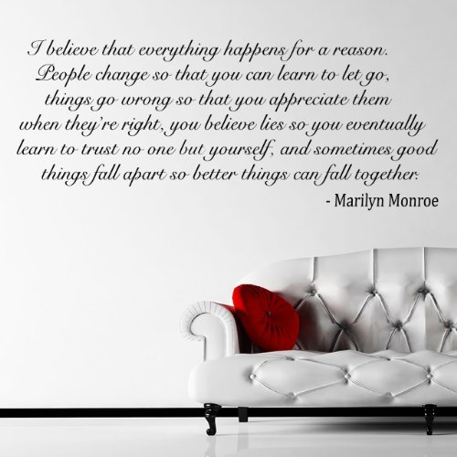 I Believe   Marilyn Monroe Quote Wall Sticker / Decal   Black   W74 X H30