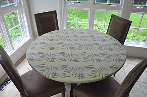 """Elastic Edged Flannel Backed Vinyl Fitted Table Cover - FERN Pattern - Small Round - Fits tables up to 44"""" Diameter"""