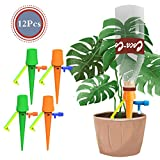 12Pcs Automatic Plant Watering Spikes - Plants Self Water Devices System with Control Switch, Vacations Potted Waterers Stakes When Away