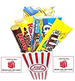 Movie Night Popcorn, Candy And Redbox Movie Gift Basket ~ Includes Movie Theater Butter Popcorn, Concession Stand Candy and a Gift Card for 2 Free Redbox Movie Rentals (Goobers)
