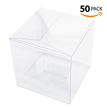Amazon Lnkey 50 Pcs Clear Favor Boxes 3x3x3 Inch For Cupcake