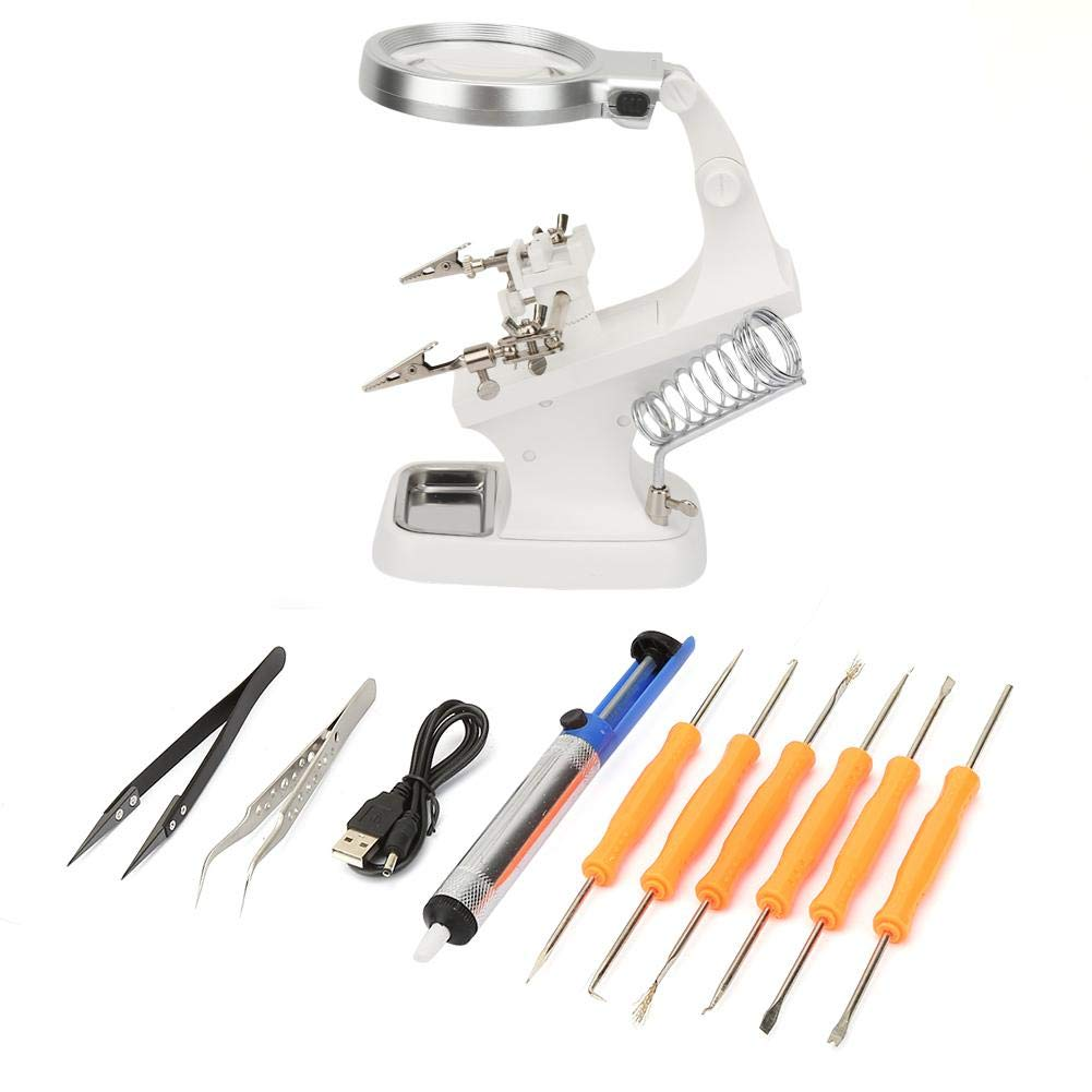 4,5X Lupe mit verstellbaren Clips zum L/öten der Lupenstation LED-Lupe 360 /° Workbench Helping Hand 3X