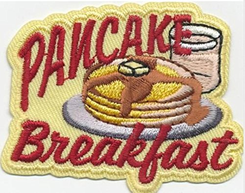 Cub Girl Boy PANCAKE BREAKFAST Embroidered Iron-On Fun Patch Crests Badge Scout Guides