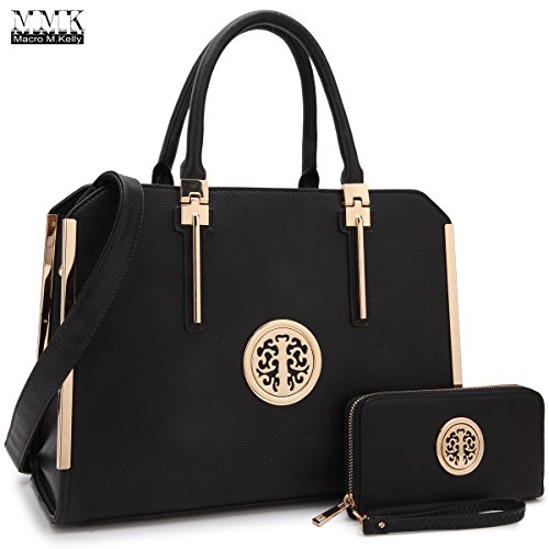 MMK Collection Fashion Pad-lock Satchel handbags with wallet~Designer Purse for Women ~Multi Pocket ~ Perfect Women Purse and wallet~ Beautiful Designer Handbag Set ()