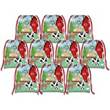 Farm Animals Barnyard Drawstring Bags Kids Birthday Party Supplies Favor Bags 10 Pack