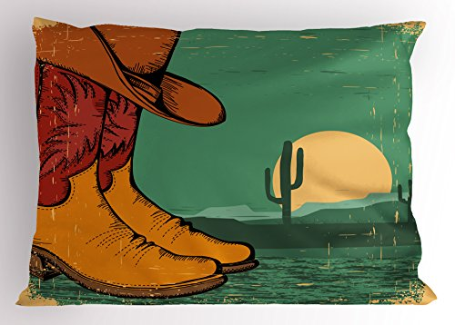 Vintage Jade Green (Lunarable Western Pillow Sham, Desert Landscape Vintage Boots and Hat Grungy Old Display Cowboy, Decorative Standard Queen Size Printed Pillowcase, 30 X 20 inches, Jade Green Ruby Earth Yellow)