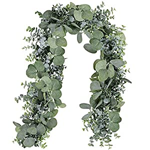 Supla 5.9' Long Faux Eucalyptus Leaves Greenery Garland Artificial Silver Dollar Eucalyptus Garland in Grey Green Wedding Arch Swag Backdrop Garland Doorways Table Runner Garland Indoor Outdoor 91