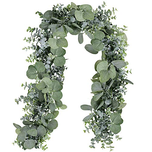 SUPLA 5.9' Long Faux Eucalyptus Leaves Greenery Garland Artificial Silver Dollar Eucalyptus Garland in Grey Green Wedding Arch Swag Backdrop Garland Doorways Table Runner Garland Indoor Outdoor -
