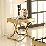 Furniture of America Dorelle Contemporary Glass Top End Table, Brass