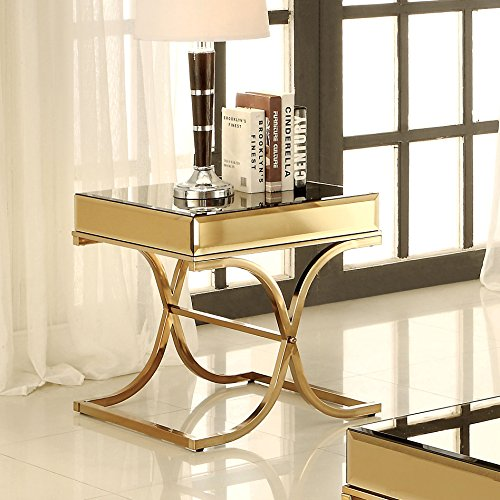 Furniture of America Dorelle Contemporary Glass Top End Table, Brass (Gilded Coffee Table)