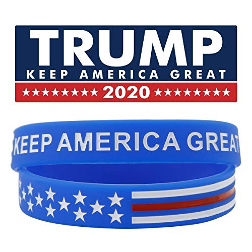 Sainstone Keep America Great Donald Trump for President 2020 Silicone Bracelets - Inspirational Motivational Wristbands - Adults Unisex Gifts for Teens Men Women (Blue)