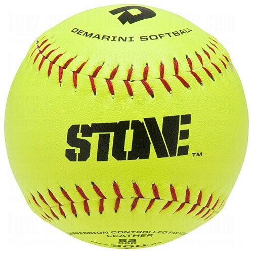 (DeMarini Stone ASA Series Leather Softball (12-Pack), 12-Inch, Optic Yellow )