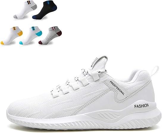 XFQ Los Hombres Ocasionales De Las Zapatillas De Deporte Ligera Deporte Pasear Formadores De Amortiguación De Ping Pong Correr Zapatos De Gimnasia con 5 Pares De Calcetines Deportivos,Blanco,43EU: Amazon.es: Hogar