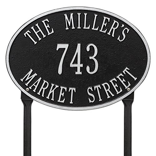 (Whitehall Products Hawthorne Standard Oval Black/Silver Lawn 3-Line Address Plaque)