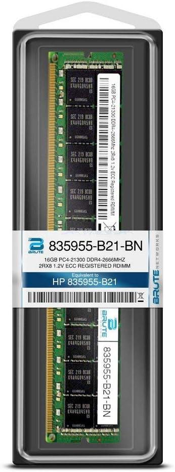 Brute Networks 835955-B21-BN Renewed Equivalent to OEM PN # 835955-B21 16GB PC4-21300 DDR4-2666Mhz 2Rx8 1.2v ECC Registered RDIMM