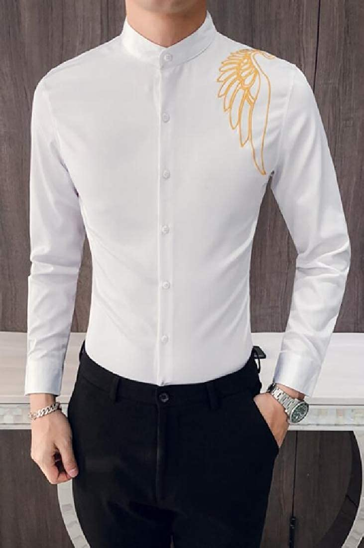 Domple Mens Nightclub Slim Fit Embroidery Long Sleeve Vintage Button Down Blouse Shirt