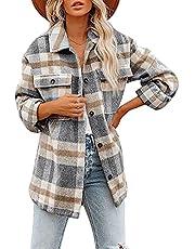 SFXULIX Women's Casual Woolen Long Sleeve Button Down Plaid Shacket Shirt Jacket Tops