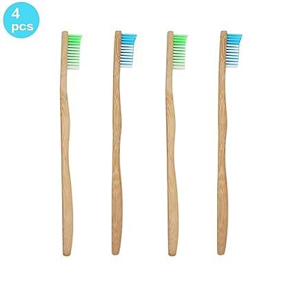 sonifox 4pcs cepillo de dientes de bambú para adultos ecológico biodegradable mangos de bambú y sin