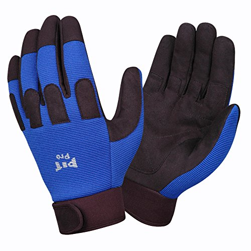 Cordova Safety Products 77371 Pit Pro Synthetic Leather Palm Gloves with Fingertip & Knuckle Protectors, Large, Blue/Black