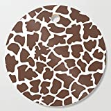 Society6 Wooden Cutting Board, Round, Animal Print (Giraffe Pattern) - Brown White by sitnica