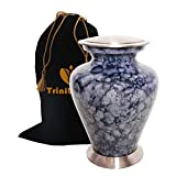 Marbled Blue Cremation Urn - Beautifully Handcrafted Adult Funeral Urn - Solid Metal Funeral Urn - Affordable Urn for Human Ashes with Free Velvet Bag