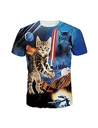 Jiayiqi Women Men Casual 3D Cat Printed T-shirts Short Sleeve Tops Tees