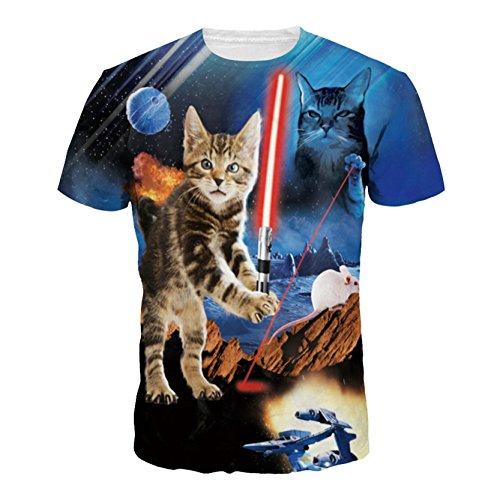 Cat Star Wars (New Women Star Wars Cat Sword 3D Print Short Sleeve T-shirts Tees M)