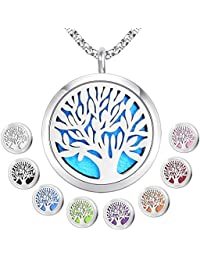 Essential Oil Diffuser Pendant Necklace,Stainless Steel...