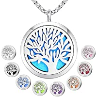 "Essential Oil Diffuser Pendant Necklace,Stainless Steel Aromatherapy Diffuser Magnetic Locket Necklaces with 26"" Chain and 8 Color Pads,Girls Women Jewelry Gift Set"