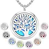 Essential Oil Diffuser Pendant Necklace,Stainless Steel Aromatherapy Diffuser Magnetic Locket Necklaces with 26'' Chain and 8 Color Pads,Girls Women Jewelry Gift Set