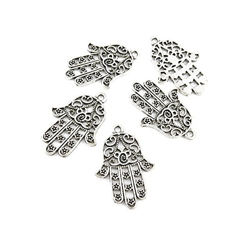 30 Pieces Antique Silver Tone Jewelry Making Charms 23001 Buddha Palm Pendant Ancient Findings Craft Supplies Bulk Lots