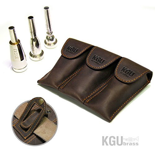 Trumpet Mouthpiece Pouch TRIPLE KGUBrass Leather Crazy Horse Brown. Handmade (TRIPLE, Vintage Brown with orange thread)