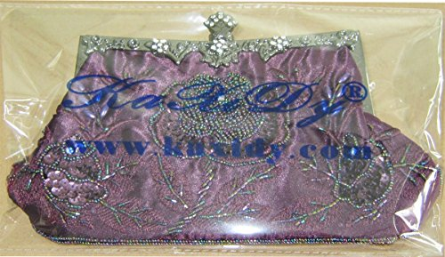 Prom Gold Bags Ladies Sequin Clutch Evening Purse Floral Antique Seed Bead Wedding Purple Bag Party KAXIDY UwxPO6x