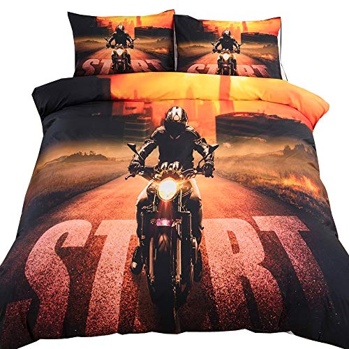EsyDream 3D Motorcycle Racing Printed Bedding Bedlinen Sheet Sets 3pc Racing Motorcycle Motocross Bedding Dirt Bike Xtreme Sports Duvet Cover Sets for Kids Teen Boys No Comforter King Color 2