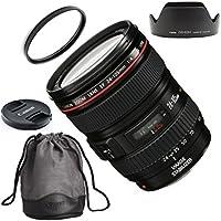Canon EF 24-105mm f/4 L IS USM ZeeTech Premium Lens Bundle + High Definition U.V. Filter + Deluxe Pouch for Canon Digital SLR Cameras