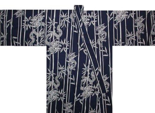 Japanese Men's Yukata Kimono Robe Dragon (Navy-3L) ()