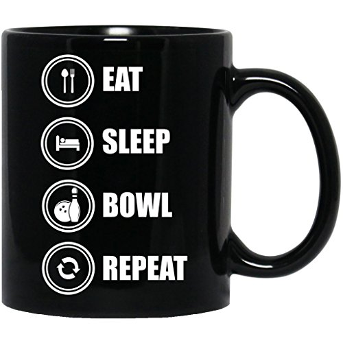 Eat Sleep Bowl Repeat Bowling Player Lovers Gift Funny Black Mug