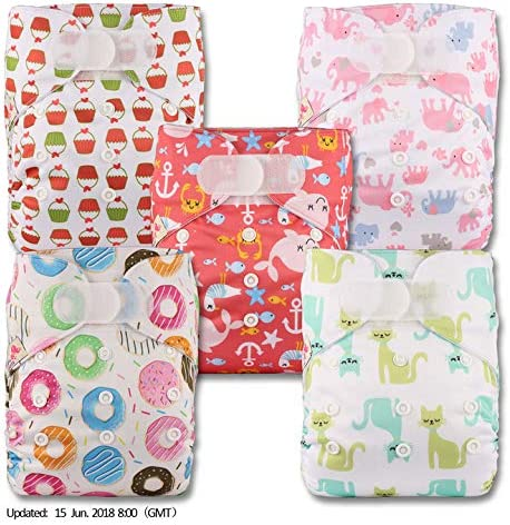 Littles /& Bloomz with 3 Bamboo Inserts Reusable Pocket Cloth Nappy Fastener: Popper Patterns 331 Set of 3