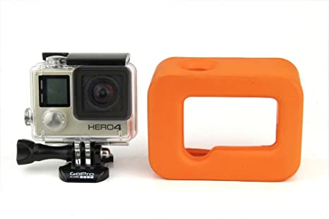 Naranja flotante Flotador marco Carcasa para GoPro Hero 4 3 +, instalar en Go Pro