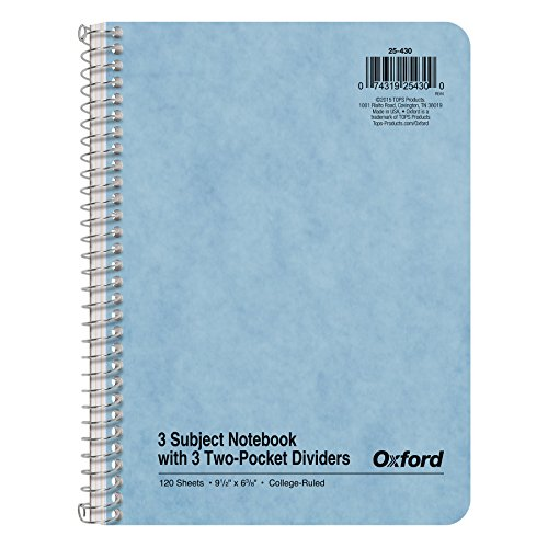 Ampad 25-430 Oxford 3-Subject Wire Notebook, Assorted Color Covers, 9.5 x 6.37, College Rule, 120-Sheets, 1-Each