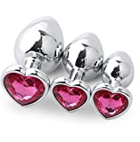 Anal Plug Stainless Steel Heart Shape Fetish Butt Plug Anal Toy S M L Jewel Trainer Set 3PCS Sex Diamond Jeweled Toys Rose