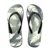Couple Flip Flops Feather Fallen Print Chic Sandals Slipper Rubber Non-Slip Spa Thong Slippers